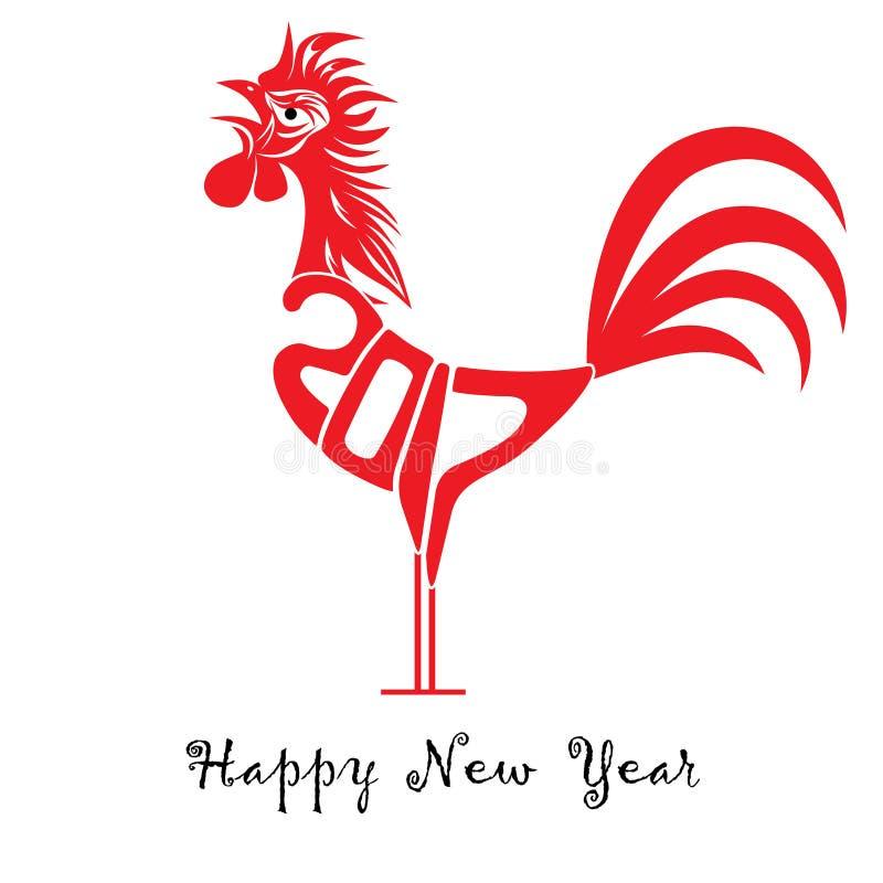 Έννοια πουλιών κοκκόρων του κινεζικού νέου έτους του κόκκορα Διανυσματική συρμένη χέρι απεικόνιση σκίτσων απεικόνιση αποθεμάτων