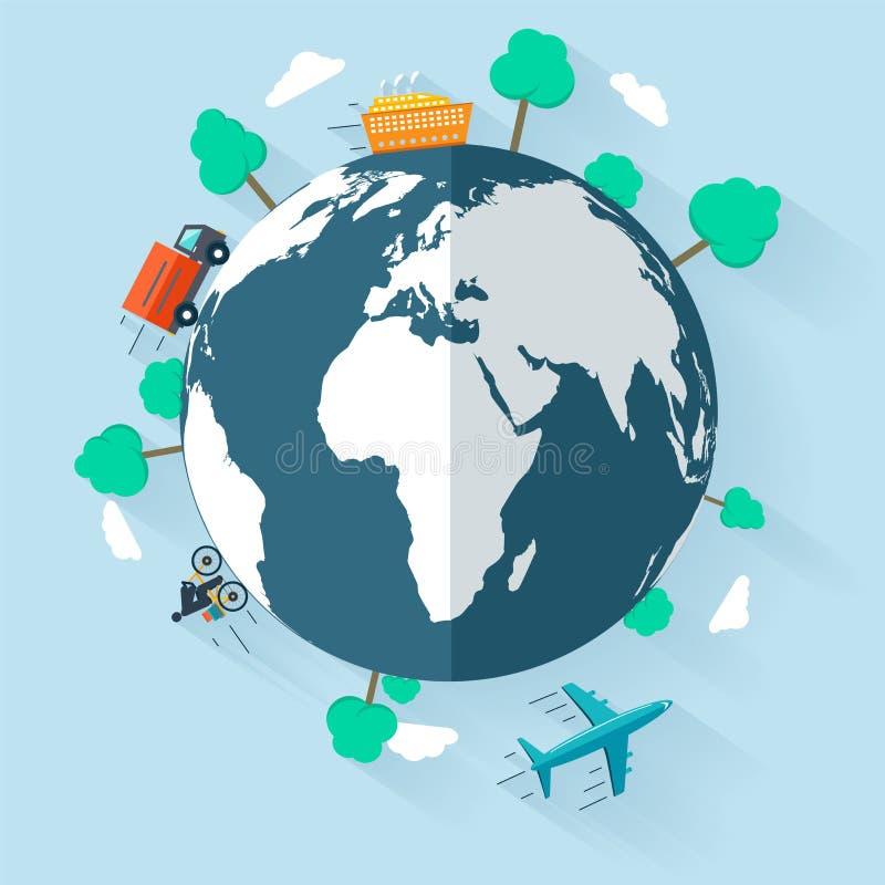 Έννοια που παραδίδει τα αγαθά παγκοσμίως απεικόνιση αποθεμάτων
