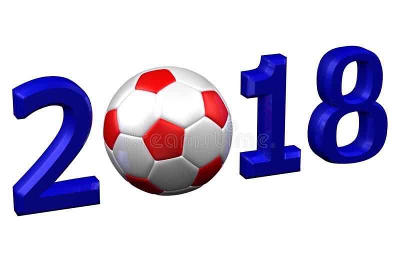 Έννοια: Ποδόσφαιρο 2018 τρισδιάστατη απόδοση στοκ εικόνα με δικαίωμα ελεύθερης χρήσης