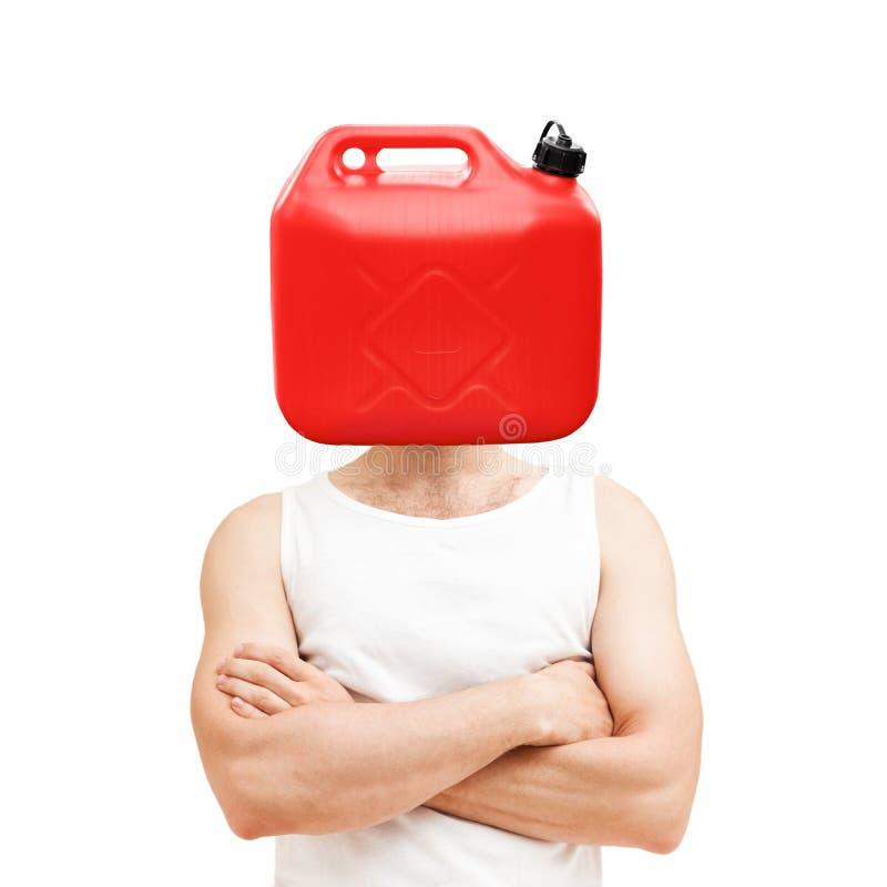Έννοια προβλήματος καυσίμων Το άτομο με τον κόκκινο Jerry μπορεί στοκ εικόνα με δικαίωμα ελεύθερης χρήσης