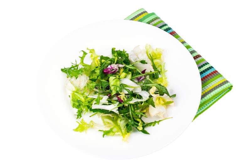 Έννοια προγευμάτων απώλειας βάρους διατροφής Μίγμα των φρέσκων πράσινων οργανικών φύλλων σαλάτας στοκ εικόνες
