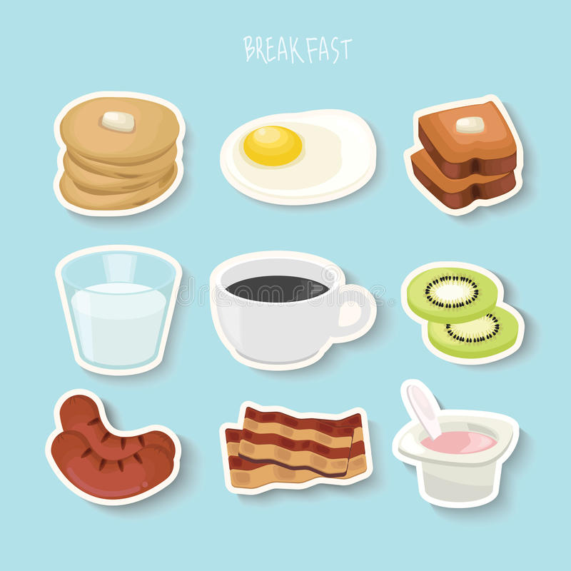 Έννοια προγευμάτων με τα φρέσκα τρόφιμα και τα επίπεδα εικονίδια ποτών καθορισμένα τη διανυσματική απεικόνιση διανυσματική απεικόνιση