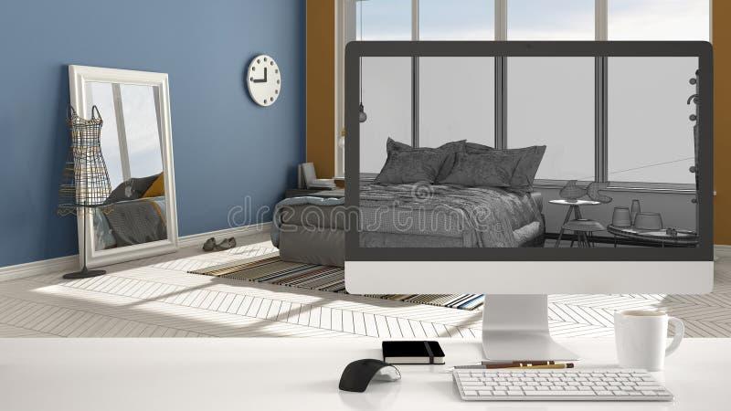 Έννοια προγράμματος σπιτιών αρχιτεκτόνων, υπολογιστής γραφείου στο άσπρο γραφείο εργασίας που παρουσιάζει στο σκίτσο CAD εσωτερικ στοκ εικόνες