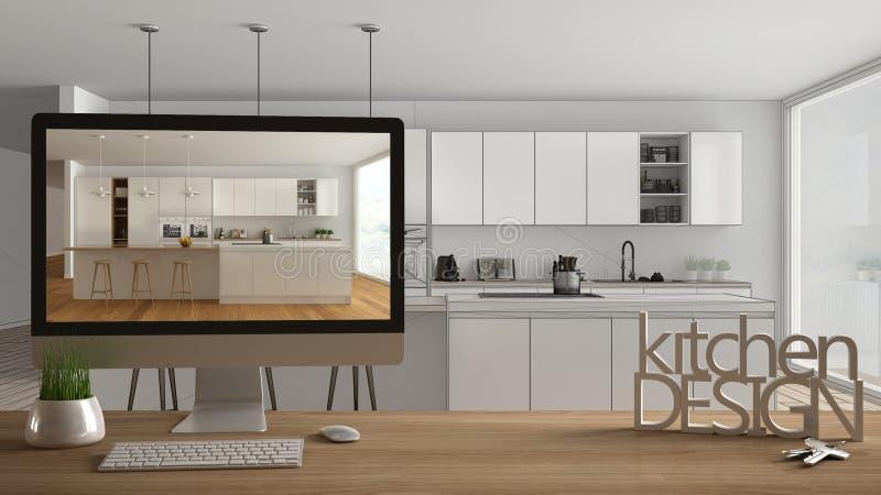 Έννοια προγράμματος σχεδιαστών αρχιτεκτόνων, ξύλινος πίνακας με τα κλειδιά σπιτιών, τις τρισδιάστατους επιστολές και τον υπολογισ στοκ φωτογραφία
