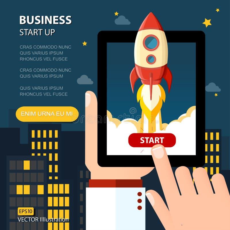 Έννοια προγραμματισμού αύξησης επιχειρησιακής στρατηγικής ξεκινήματος απεικόνιση αποθεμάτων