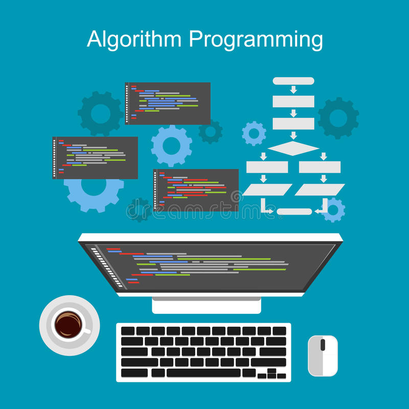 Έννοια προγραμματισμού αλγορίθμου απεικόνιση αποθεμάτων