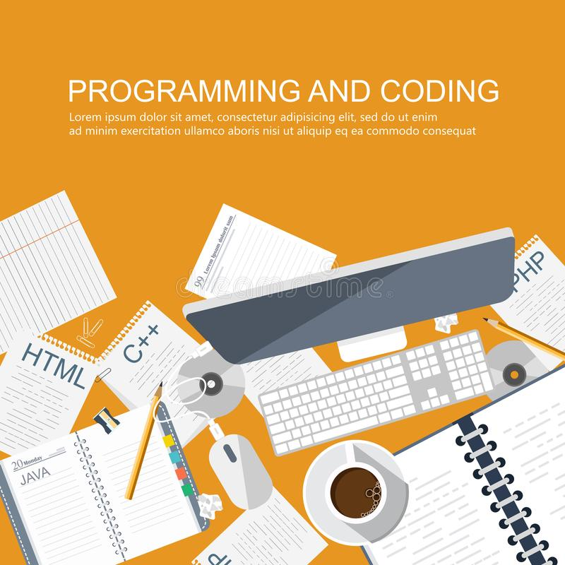 Έννοια προγραμματισμού και κωδικοποίησης Γραφείο γραφείων με τον εξοπλισμό Εικονίδιο ανάπτυξης εφαρμογών για τους ιστοχώρους απεικόνιση αποθεμάτων