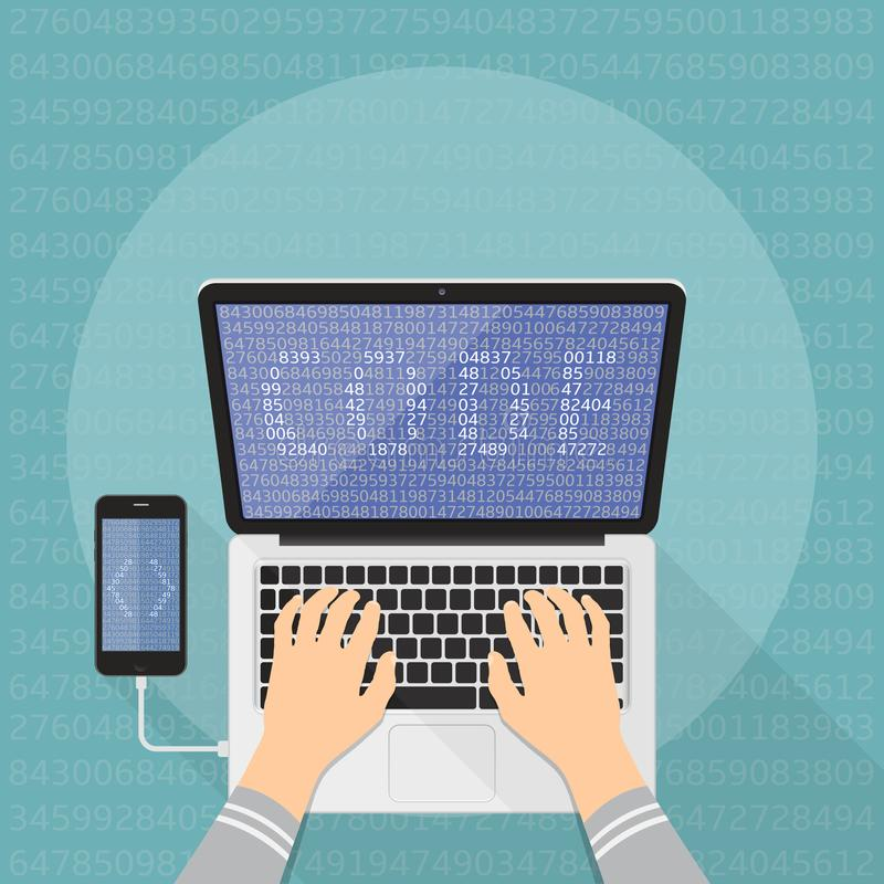 Έννοια προγραμματισμού και κωδικοποίησης Κωδικοποίηση προγραμματιστών στο φορητό προσωπικό υπολογιστή ελεύθερη απεικόνιση δικαιώματος