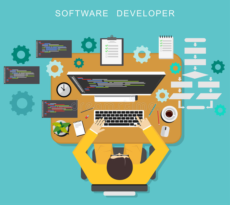 Έννοια προγραμματιστή λογισμικού Κωδικοποίηση προγραμματιστών στον υπολογιστή γραφείου ελεύθερη απεικόνιση δικαιώματος
