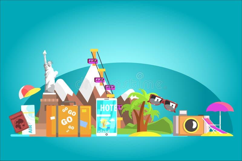 Έννοια προορισμού ταξιδιού με τα διάσημα ορόσημα σε όλο τον κόσμο διανυσματική απεικόνιση