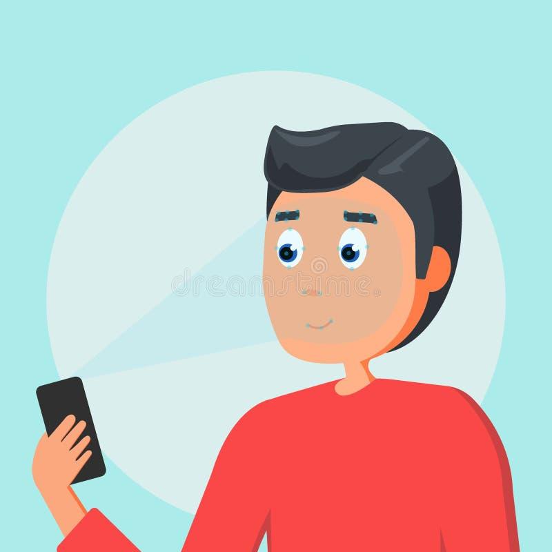 Έννοια προσδιορισμού προσώπου Ο νεαρός άνδρας κρατά το smartphone διαθέσιμο για να πάρει την πρόσβαση στη συσκευή μέσω της τεχνολ ελεύθερη απεικόνιση δικαιώματος