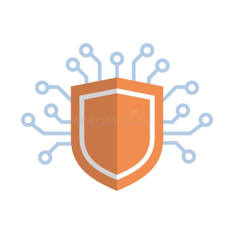 Έννοια προστασίας δεδομένων δικτύων μέσων εικονιδίων ασπίδων απεικόνιση αποθεμάτων