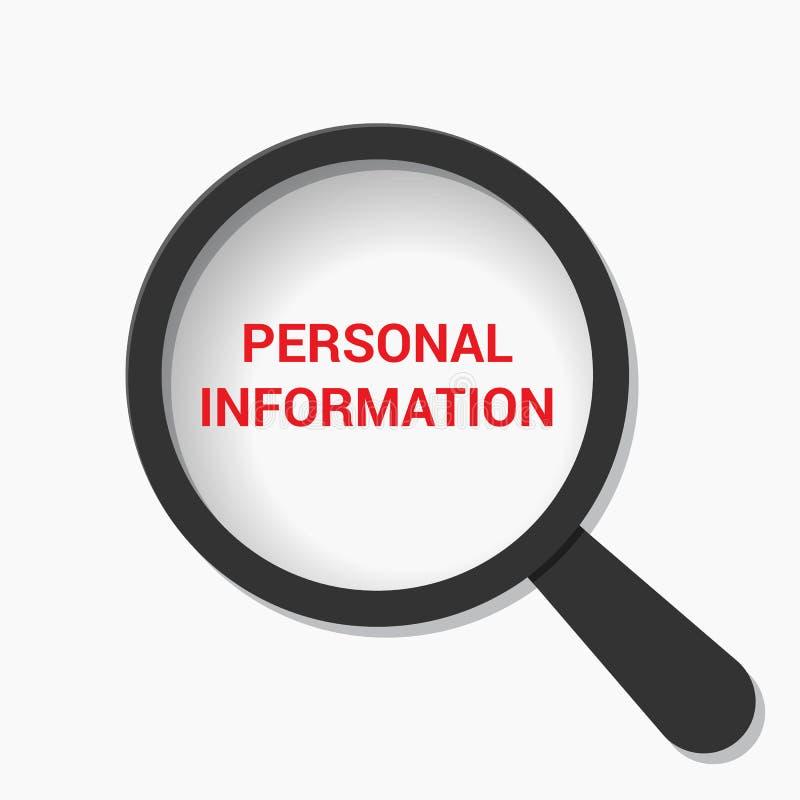 Έννοια προστασίας: Ενίσχυση του οπτικού γυαλιού με τη προσωπική πληροφορία λέξεων διανυσματική απεικόνιση