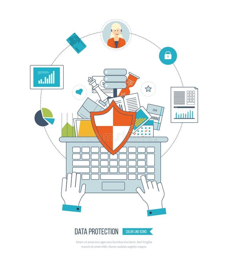 Έννοια προστασίας δεδομένων Προγραμματισμός, οικονομική στρατηγική, διαχείριση του προγράμματος και ανάπτυξη διανυσματική απεικόνιση