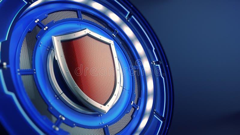 Έννοια προστασίας και ασφάλειας: ασπίδα στο φουτουριστικό υπόβαθρο τεχνολογίας ελεύθερη απεικόνιση δικαιώματος