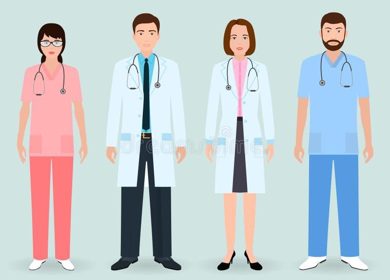 Έννοια προσωπικό νοσοκομείου Ομάδα γιατρών ανδρών και γυναικών, νοσοκόμα, ιατρική ορντινάντσα απεικόνιση αποθεμάτων