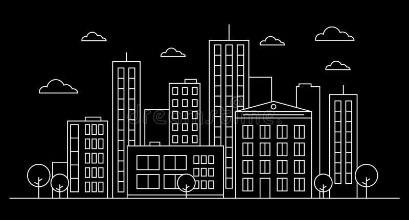 Έννοια προσόψεων τοπίων οριζόντων πόλεων περιλήψεων με τα κτήρια, scyscrapers, doughnut καφές καταστημάτων, σύννεφα, δέντρα Άσπρο διανυσματική απεικόνιση