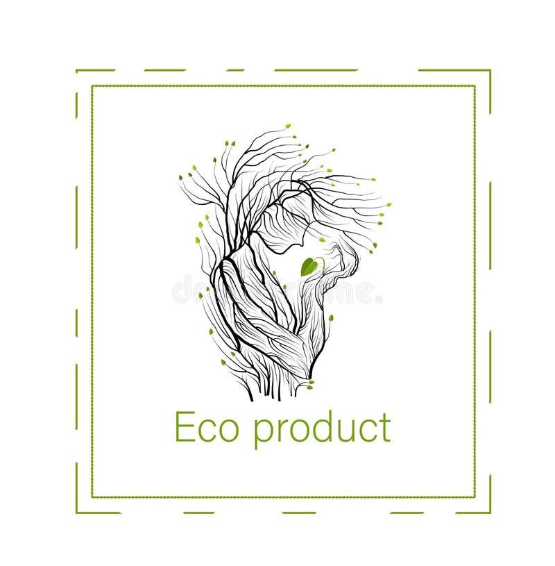 Έννοια προϊόντων Eco, άτομο όπως το δέντρο που κρατά τον πράσινο νεαρό βλαστό φύλλων, πράσινη ιδέα προσοχής eco προϊόντων, διανυσματική απεικόνιση
