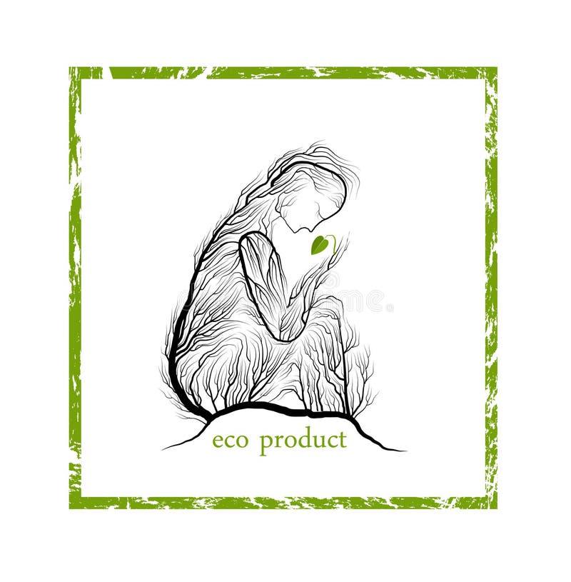Έννοια προϊόντων Eco, γυναίκα όπως το δέντρο που κρατά τον πράσινο νεαρό βλαστό φύλλων, πράσινη ιδέα προσοχής eco προϊόντων, διανυσματική απεικόνιση