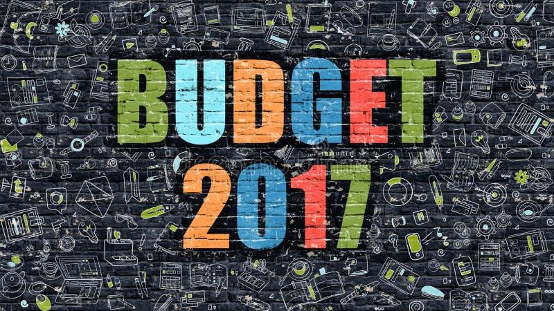 Έννοια προϋπολογισμών 2017 με τα εικονίδια σχεδίου Doodle διανυσματική απεικόνιση