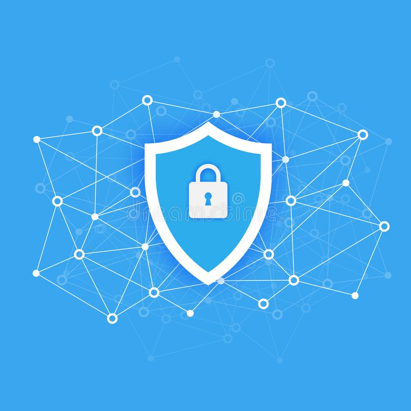 Έννοια πρόσβασης ασφαλείας δεδομένων υπολογιστών Προστατεύστε τα ευαίσθητα στοιχεία Ασφάλεια Διαδικτύου Επίπεδο σχέδιο, διανυσματ απεικόνιση αποθεμάτων