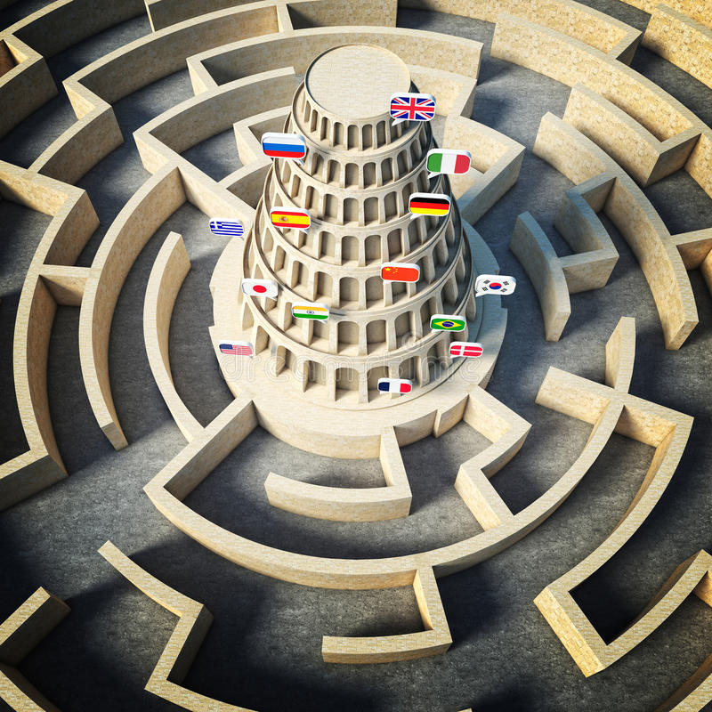 Έννοια πύργων της Βαβέλ διανυσματική απεικόνιση