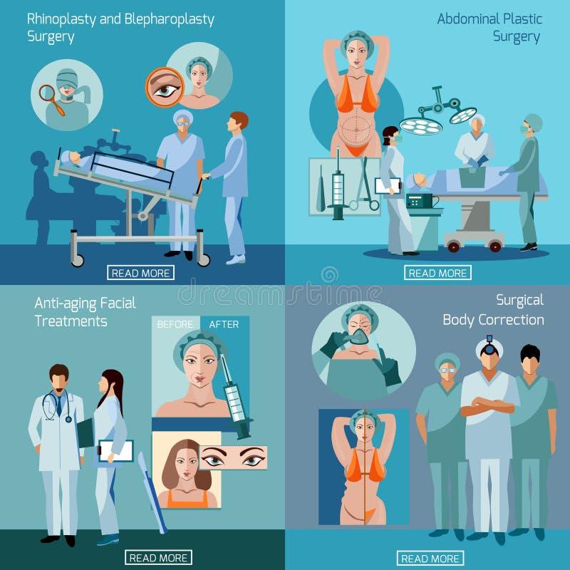 Έννοια 4 πλαστικής χειρουργικής επίπεδο τετράγωνο εικονιδίων απεικόνιση αποθεμάτων