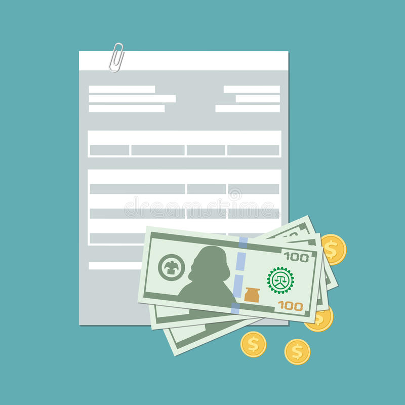 Έννοια πληρωμής Τιμολόγιο, φορολογικό νομοσχέδιο, απολογισμός, έλεγχος με τα μετρητά και χρυσά νομίσματα Πληρωμή σε μετρητά απεικόνιση αποθεμάτων