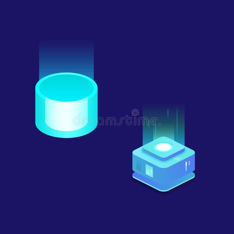 Έννοια ροής στοιχείων, τεχνολογίες πληροφοριών, έννοια γεια της τεχνολογίας isometric απεικόνιση αποθεμάτων