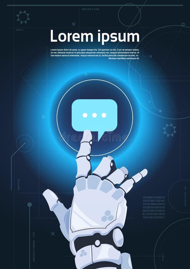 Έννοια ρομποτική επικοινωνία ρομπότ εικονιδίων φυσαλίδων συνομιλίας αφής χεριών και τεχνητής νοημοσύνης διανυσματική απεικόνιση