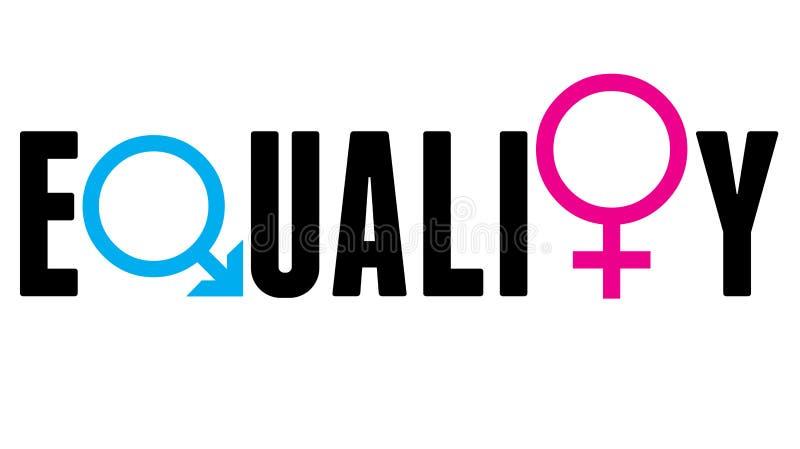 Έννοια σημαδιών ισότητας φύλων ανδρών και γυναικών διανυσματική απεικόνιση