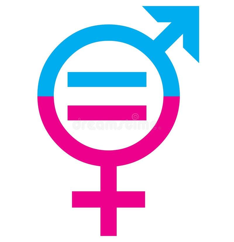 Έννοια σημαδιών ισότητας φύλων ανδρών και γυναικών ελεύθερη απεικόνιση δικαιώματος