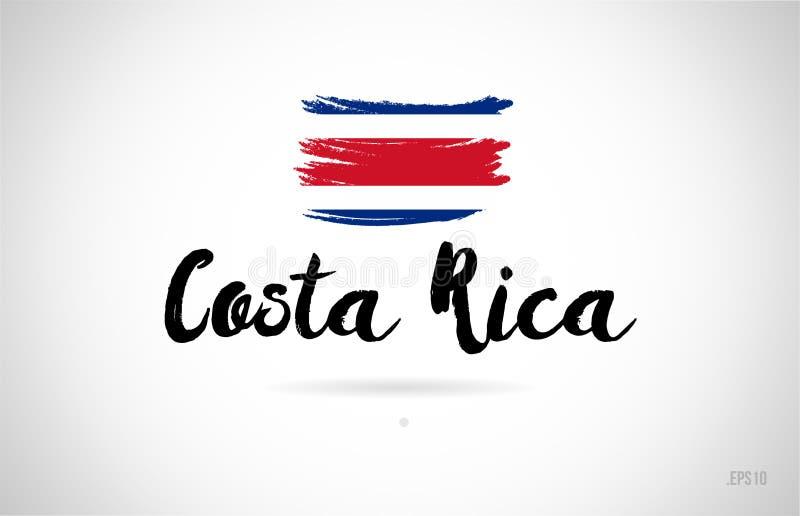 έννοια σημαιών χωρών της Κόστα Ρίκα με το λογότυπο εικονιδίων σχεδίου grunge ελεύθερη απεικόνιση δικαιώματος