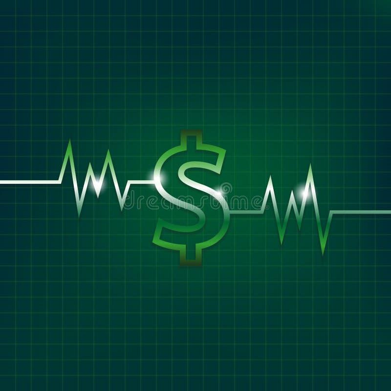Έννοια σημαδιών δολαρίων με τον παλμό διανυσματική απεικόνιση