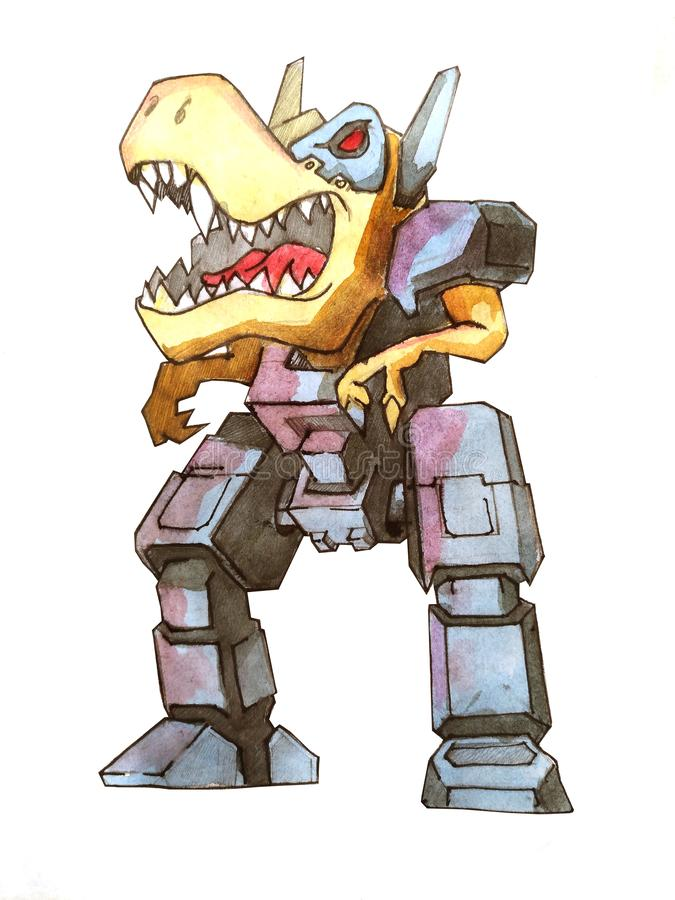 Έννοια σκίτσων ρομπότ μάχης της Dino διανυσματική απεικόνιση