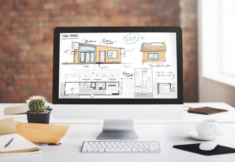 Έννοια σκίτσων σχεδιαγραμμάτων Floorplan σχεδιαγράμματος σπιτιών στοκ φωτογραφίες με δικαίωμα ελεύθερης χρήσης