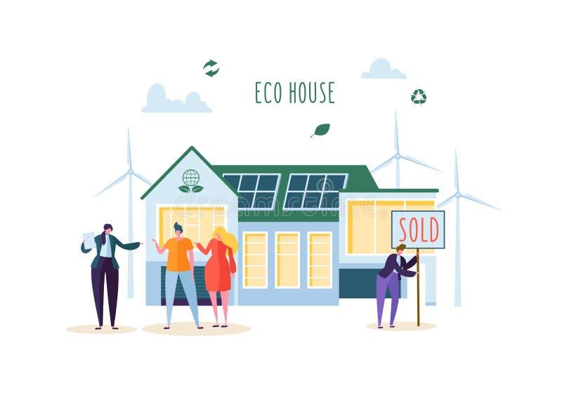 Έννοια σπιτιών Eco με τους ευτυχείς ανθρώπους που αγοράζουν το νέο σπίτι Κτηματομεσίτης με τους πελάτες Πράσινη ενέργεια οικολογί διανυσματική απεικόνιση
