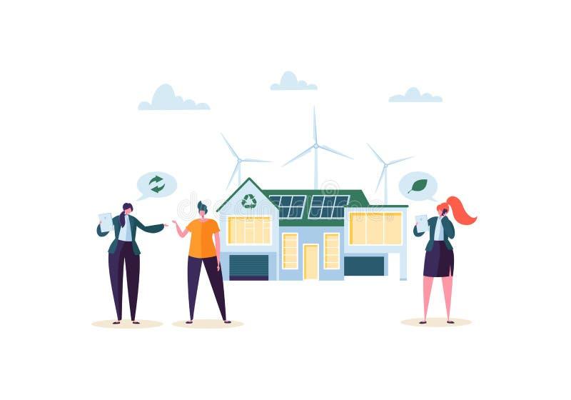 Έννοια σπιτιών Eco με το κτηματομεσίτη που παρουσιάζει το σύγχρονο σπίτι στους πελάτες Πράσινη ενέργεια οικολογίας, ηλιακή αιολικ απεικόνιση αποθεμάτων