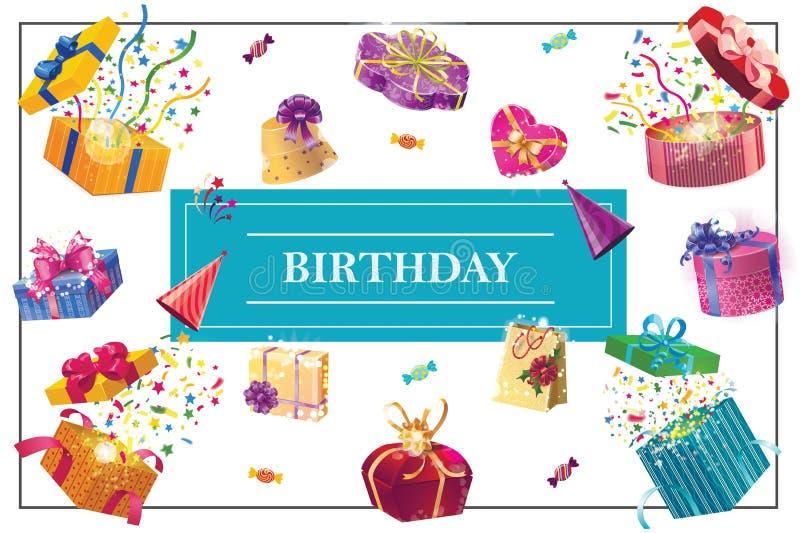 Έννοια στοιχείων γιορτής γενεθλίων κινούμενων σχεδίων ελεύθερη απεικόνιση δικαιώματος