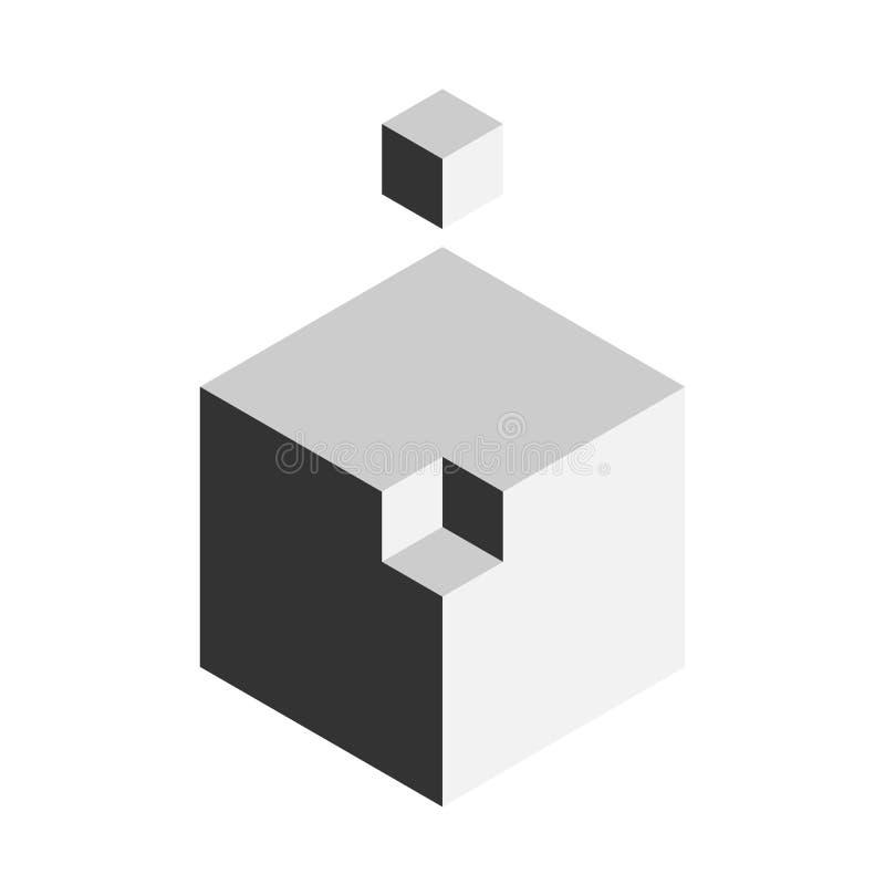Έννοια στοιχείων σχεδίου λύσης Φραγμός των τρισδιάστατων κύβων με το τελευταίο κομμάτι έξω επίσης corel σύρετε το διάνυσμα απεικό διανυσματική απεικόνιση