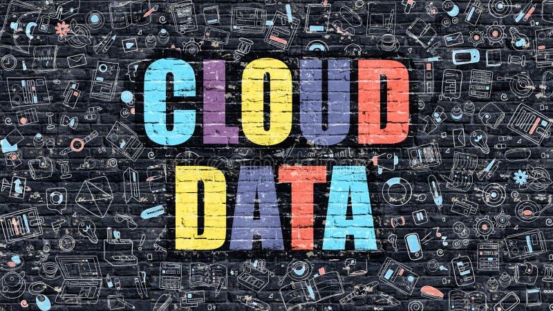 Έννοια στοιχείων σύννεφων Πολύχρωμος σε σκοτεινό Brickwall διανυσματική απεικόνιση