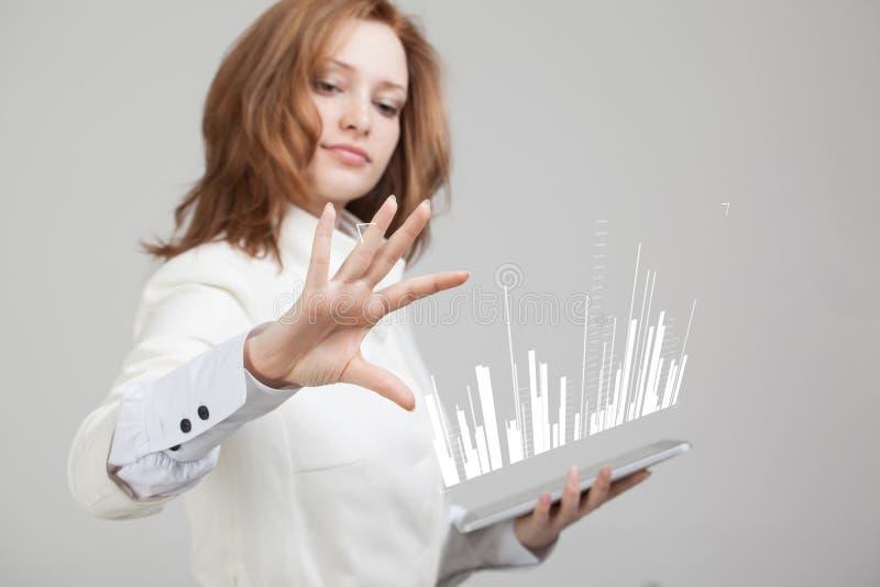 Έννοια στοιχείων χρηματοδότησης Γυναίκα που εργάζεται με Analytics Πληροφορίες γραφικών παραστάσεων διαγραμμάτων για την ψηφιακή  στοκ εικόνες