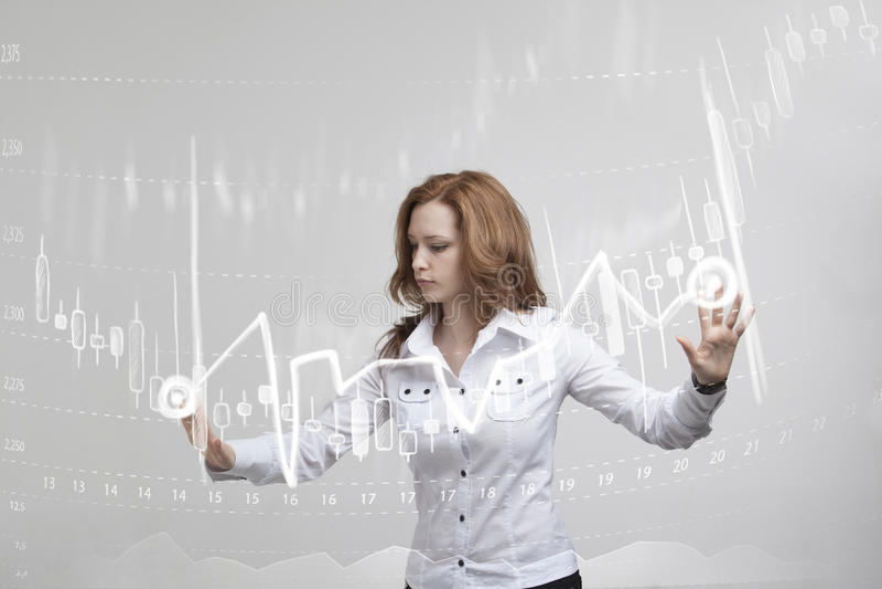 Έννοια στοιχείων χρηματοδότησης Γυναίκα που εργάζεται με Analytics Πληροφορίες γραφικών παραστάσεων διαγραμμάτων με τα ιαπωνικά κ στοκ εικόνες με δικαίωμα ελεύθερης χρήσης