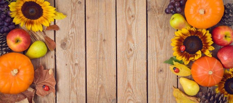 Έννοια συγκομιδών φθινοπώρου με την κολοκύθα, τα μήλα και τους ηλίανθους στον ξύλινο πίνακα Υπόβαθρο διακοπών ημέρας των ευχαριστ στοκ φωτογραφία