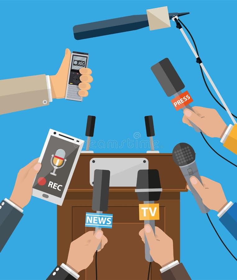 Έννοια συνεντεύξεων τύπου, ειδήσεις, μέσα, δημοσιογραφία διανυσματική απεικόνιση