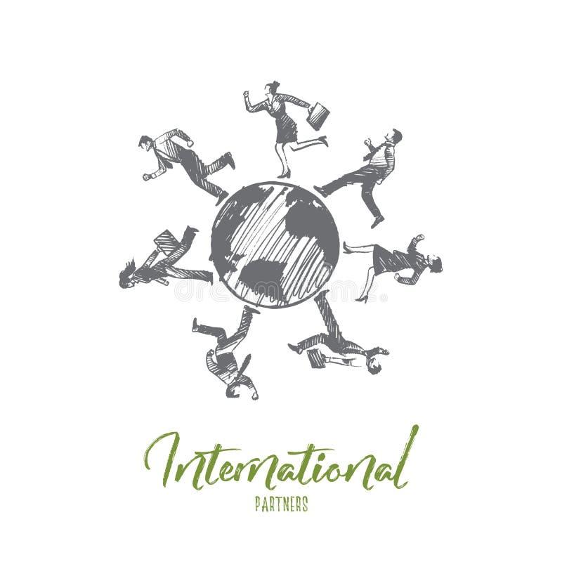 Έννοια συνεργατών Internationl Συρμένο χέρι απομονωμένο διάνυσμα απεικόνιση αποθεμάτων