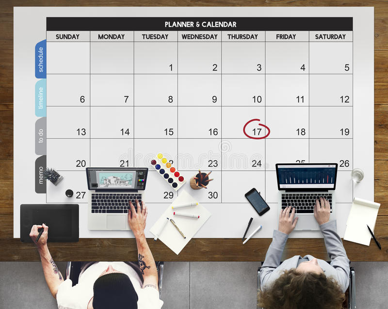Έννοια συνεδρίασης του γεγονότος προθεσμίας ημέρας ημερολογιακών ημερήσιων διατάξεων στοκ φωτογραφία