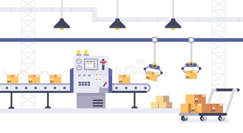 Έννοια συσκευασίας και γραμμών παραγωγής στο επίπεδο ύφος Βιομηχανική διανυσματική απεικόνιση μηχανών Κουτιά από χαρτόνι στο μετα απεικόνιση αποθεμάτων
