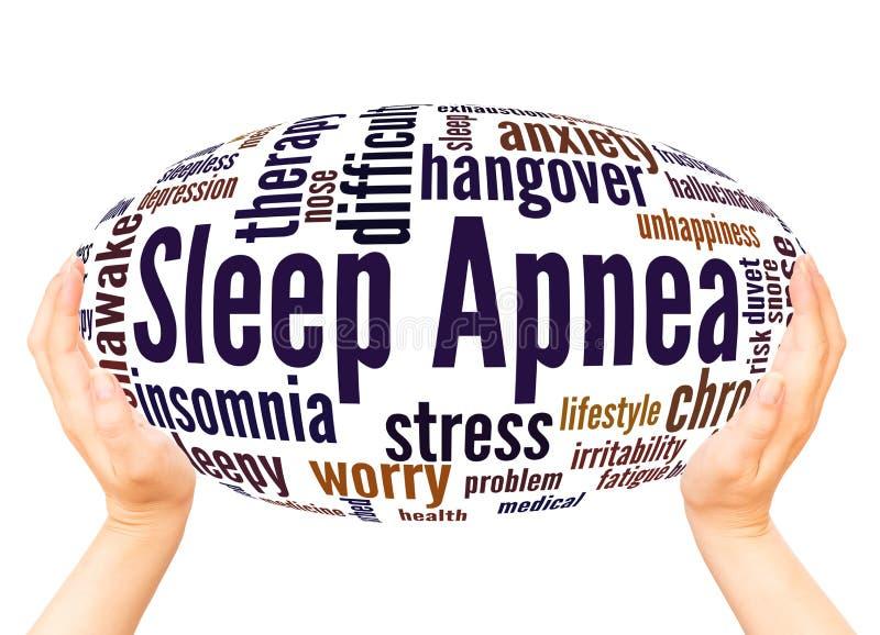 Έννοια σφαιρών χεριών σύννεφων λέξης ασφυξίας ύπνου απεικόνιση αποθεμάτων
