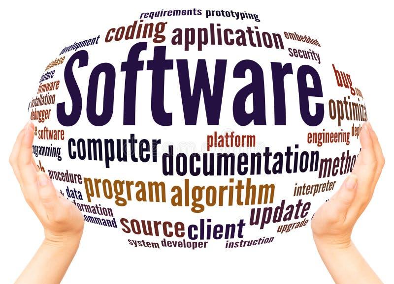 Έννοια σφαιρών χεριών σύννεφων λέξης λογισμικού απεικόνιση αποθεμάτων